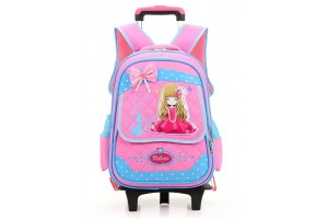 6 Wheels Kids Trolley Elementary School Cute Girl Waterproof Backpack