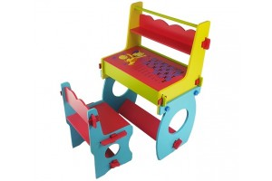 Premium Multi-Purpose Children's Colorful Wooden Learning Study Table Desk With Chair