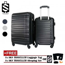 SKY TRAVELLER SKY287 Deluxe ABS 2-In-1 Luggage Set Travel Case Suitcase With Wheels (20Inch+24Inch)