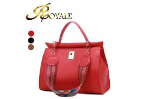 ROYALE Spring New Female Bag Fashion Color Shoulder Strap Bags PU Leather Solid Hasp Women's Handbags Ladies Casual Crossbody Bag - 3 Colors Available (RYL-196)