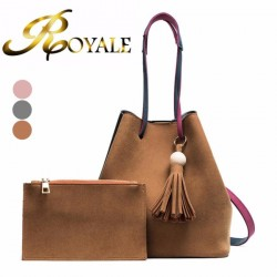 ROYALE 2-In-1 Korean Design Casual Solid Wood Vintage PU Leather Shoulder and Cross Body Tassel Bucket Bag (8204) - 3 Colors Available (RYL-197)