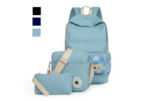 3-In-1 Fashionable Casual Flower Imprint Canvas Laptop Bag Shoulder Bag School Backpack Set- 3 Colors Available