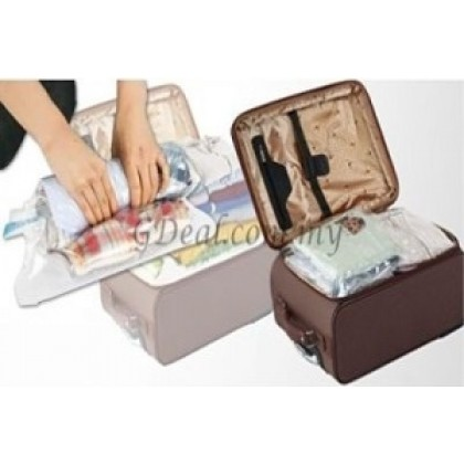 A Set of Roll Up Vacuum Compression Storage Bag - Saves Space, Reusable, Durable, Waterproof & Airtight