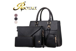 ROYALE 5-In-1 Ladies Fashion Bags PU Leather Handbag Crossbody Bag Wallet Touch Bag Purse Card Holder - 3 Colors Available (RYL-203)