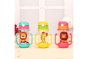 Baby Drink Cup 400ml Handle Strap Children's Cups Straw Cup Bouncing Kettle Bottle