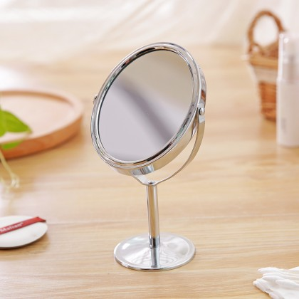 Desktop Metal Portable Makeup Mirror Double Sided Vanity Mirror And Magnifying Glass
