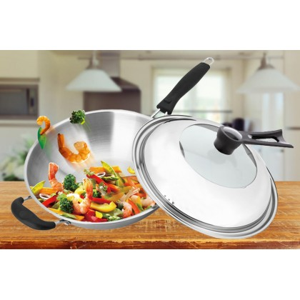 GTE Genuine Premium Quality Triply Stainless Steel All Composite Steel Wok Smokeless Frying Wok Pan Cookware 34cm With Lid (CW-7116)