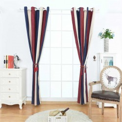 1pc Vertical Stripe Shading Blackout Curtain Grommet Ring Top Window Drapes Blinds 100cm x 250 cm