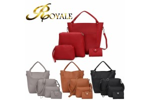 ROYALE 4-In-1 Women High Quality PU Leather Shoulder Crossbody Bags For Women Clutch Card Holder Purse Bags Set (RYL-216)