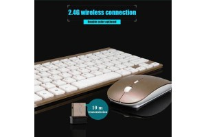 Multimedia Ultra Slim Thin Wireless 2.4GHz Connection Mouse Keyboard Combo Set For Desktop Laptop PC