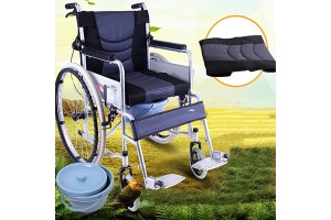 Wheelchair  Squat Elderly Folding Portable Scooter Disabled Trolley With Rear Brake (HC-08611)