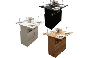 Multifunctional Folding Table Simple Home Dining Side Table With Cabinet Wheel Storage (CT030)