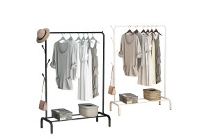 Indoor Hanger Floor Single Pole Type Drying Rack Folding Drying Hanger Simple Cool Clothes Pole Bedroom Hanging Clothes Shelf