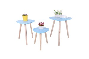 Simple Small Round Table Raindrop Shape Small Coffee Table 3 in 1 Small Table Creative Solid Wood Tea Table Living Room Sofa Side