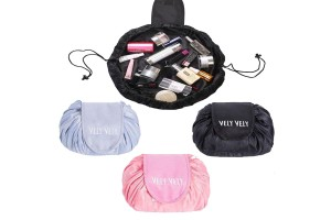 Drawstring Lazy Makeup Cosmetic Bag Portable Quick Pack Travel Foldable Pouch Case Multifunctional Waterproof Toiletry Bags Makeup Brushes Storage Organizer