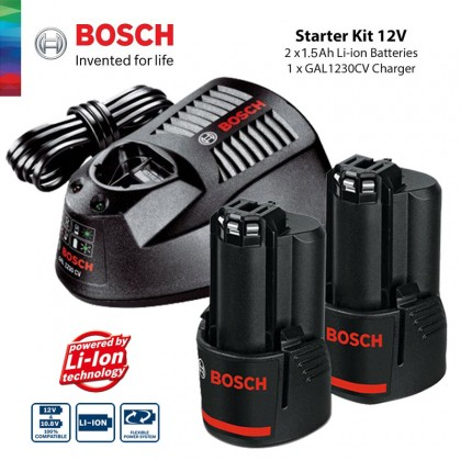 BOSCH 2pcs GBA 12V 1.5 Ah Lithium Batteries With GAL 1230 CV Charger Professional Starter Set (1600A00F6J)
