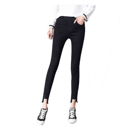 Fashion Hong Kong Taste Big Women Students Nine Pants Fringed Tight Pencil Feet Jeans Women 0837