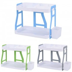 2 Tier Level Double Layer Combination Plastic Storage Rack Office Bedside Kitchen Bathroom Shelf Organizer