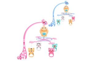 Multifunctional Baby Bed Crib Stroller Cute Mobile Musical Educational Learning Hanging 360 Degree Rotating Bracket Rattle Toy