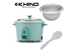 KHIND 1L (7 Cups) Rice Cooker Optimal Keep Warm Stainless Steel Removable Cover Lid (RC810N) - Random Colour