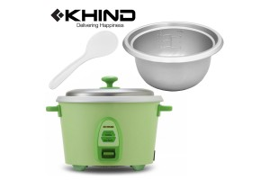 KHIND 1.8L (9 Cups) Rice Cooker Optimal Keep Warm Stainless Steel Removable Cover Lid (RC818N)
