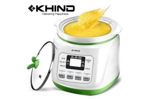 KHIND Baby Porridge 1.2L Cooker For Babies Aged 4 Months To 3 Years Ceramic Pot & Glass Lid (BP12)