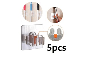 5pcs Seamless Mop Clip Free Punching Broom Clip Wall Mount Strong Non-marking Bathroom Wall Mount Storage Rack