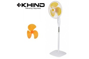 "KHIND 16"" Stand Fan Smooth Oscillation 3 Speed ON/OFF Push Button Adjustable Height (SF1683)"