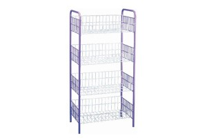 NH Home ARIF 4 Tier Rack Simple Practical Multipurpose Metal Kitchen Basket Storage Shelf Organizer With Wheels (5607025)