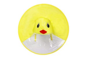 Cute Little Yellow Duck Cartoon Children Kids Hands Free Splash Proof Foldable UFO Shaped Umbrella Raincoat