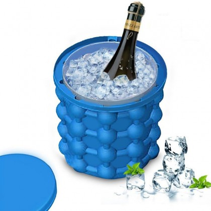GTE Ice Bucket 2in1 Ice Cube Silicone Molds Ice Bucket Revolutionary Space Saving Ice Cube Maker- Ice Genie Kitchen Tools