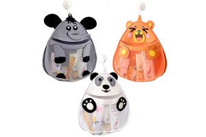 Cute Cartoon Wall Hanging Bathroom Storage Bag Bathing Toy Toiletries Storage Organizer with Hooks Suction Cup