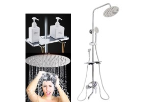 Shower Set Copper Faucet Concealed Rain Shower Wall-Mounted Shower Bathroom Water Heater Shower Head
