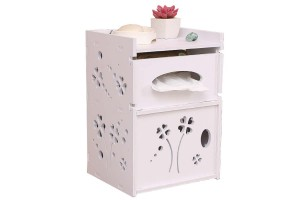Living Room Bathroom PVC Board Wall Hanging Tissue Storage Box Rack Toilet Roll Container Toilet Rack Toilet Box Rack