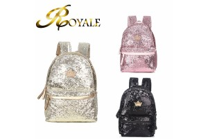 ROYALE Crown J.estina Backpack Double Back Women's Casual Sequins Backpack Trend Bag (RYL-223)