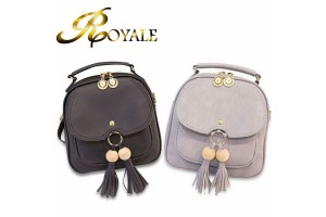 ROYALE Female Bag New Shoulder Bag Female Student Shoulder Bag Fringe Diagonal Package Leisure Three-use Handbags Travel Small Backpack 9293 (RYL-229)
