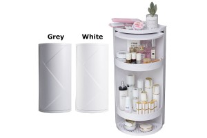 3 Layers 90 Degree Kitchen Bathroom Corner 360 Rotating Privacy Cover Multipurpose Storage Shelf Rack Cabinet