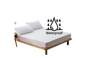 White Fitted Sheet Breathable Surface Waterproof Inner Layer Mattress Protector (150cm x 190cm)