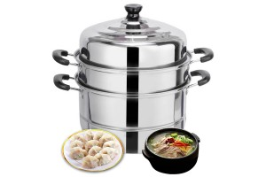 Removable 2 Tiers Large 28cm Stainless Steel Steamer Food Induction Pot Dim Sum Steamer Home Kitchen Cooking Tools Cookware (CW-7124)