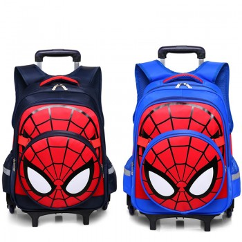 6 Wheels Spiderman Kids Trolley Waterproof Backpack Elementary School Backpack