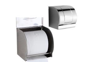 Toilet Paper Holder Stainless Steel Waterproof Recessed Wall Mount Chrome Finish With Cover (304)