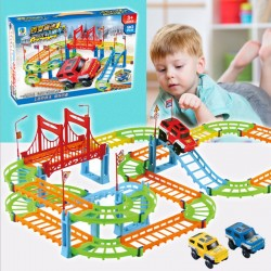 90PCS Double Track Car Assembled Electric Speed Track Educational Toys Children's DIY Racing Toys