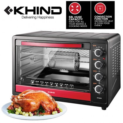 KHIND 68L Electric Oven With Convection & Rotisserie (OT6805)