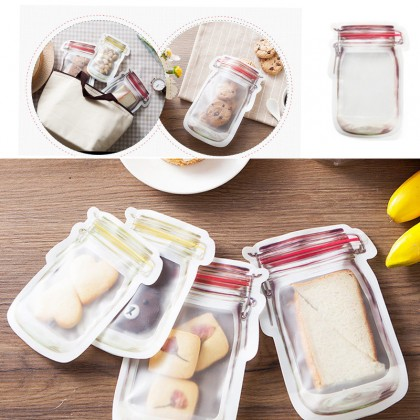 3pcs Keeping Products Mason Bottle Shape Food Preservation Bag Creative Zip Lock Bag Refrigerator Travel Food Preservation Seal Storage Bag Kitchen Organizer Fresh 500ml