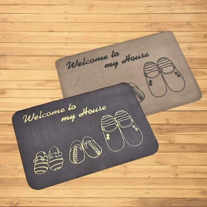 GTE 2pcs Welcome To My House Door Mats Kitchen Bedroom Toilet Carpet Door Mats Outdoor Non-slip Rugs Porch Doormat