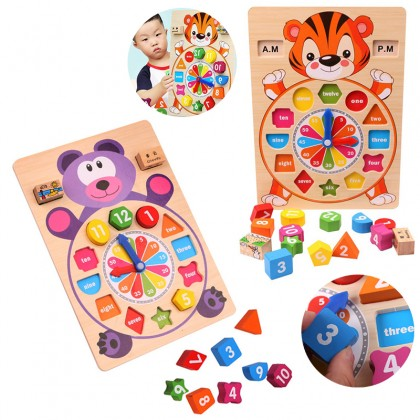 Children's Puzzle Early Education Animal Wooden Clock Number Colorful Shape Paired Building Blocks Toy
