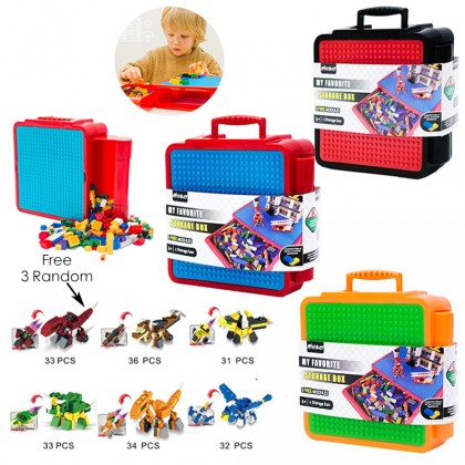 Children's Educational Portable LEGO Building Block Toy Storage Box Free 3 Random Small LEGO Building Block Toy Set