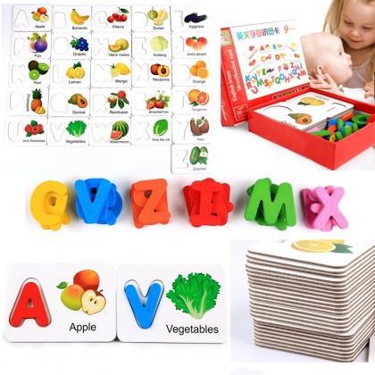 Children Vegetable And Fruits English Letter Identification Wooden Card Early Education Baby Learning
