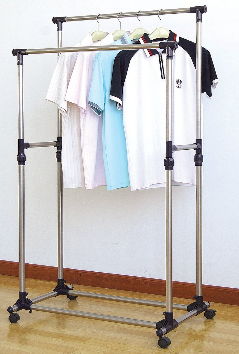 Double Pole Stainless Steel Multi Function Clothes Hanger And Organizer Rack With Wheels