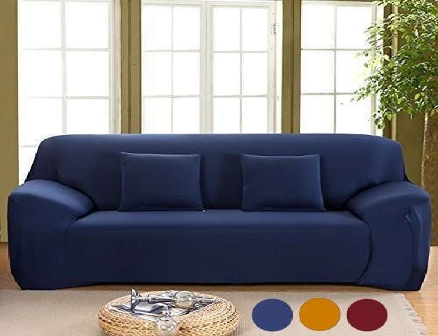 GTE Elastic Protector Slipcover Solid Plain Colour 3 Seat Lounge Couch Slip  Full Cover Stretch Sofa Cover Triple Seater (Triple: 190-230cm)